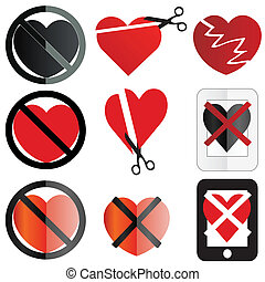 Anti Valentine icons - A set of no love or anti valentine...