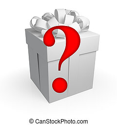 Surprise symbol concept. Gift box with question sign...