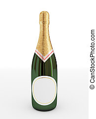 Bottle of champagne with empty label.3d rendered. Isolated...