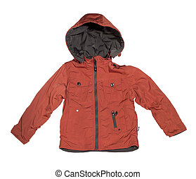 Orange childrens jacket Isolated on white background