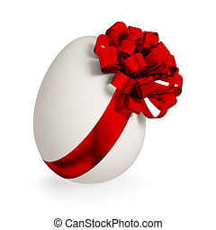 White egg wrapped with red ribbon3d renderedIsolated on...
