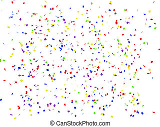 Colorful confetti on white background 3d rendered