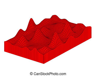 Topographical 3d map. Isolated on white background.
