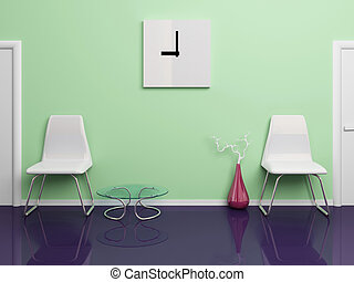 Office corridor - Two white plastic chairs, square clock,...