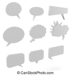 3d blank text bubbles collection