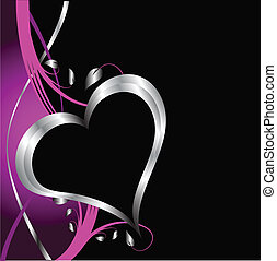 A purple hearts Valentines Day Background with silver hearts...