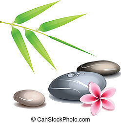 Zen theme over white - Zen theme with bamboo and colored...