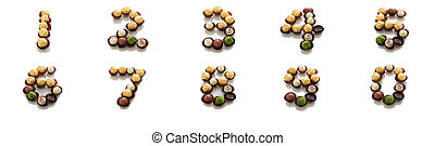 collection of chocolate Number 0-9 on a white background