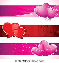 Love Banner - illustration of set of love banner with heart