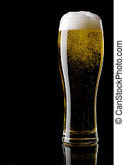Beer - Glass of beer on a black background