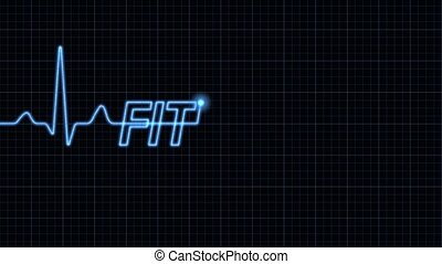 Electrocardiogram with Fitness word - Blue electrocardiogram...