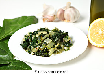 Swiss chard with garlic and oil - A side dish of swiss chard...