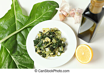 Swiss chard high angle - A side dish of swiss chard cooked...