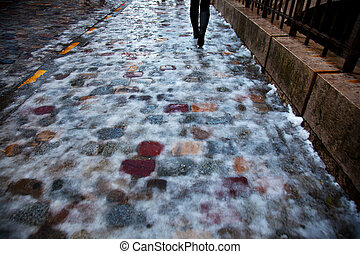 icy pavement with ice and snow