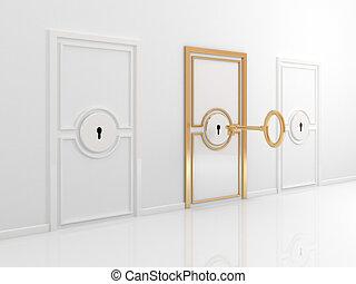 Golden door with antique key