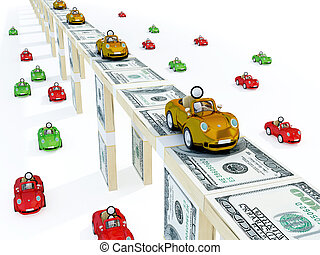 Golden cars driving on a bridge made of money and usual cars...