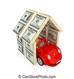 Insurance concept - Red car under the roof made of dollar...