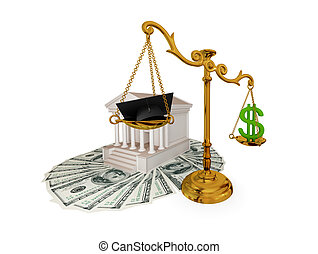 Golden vintage scales against the court. - Court, money,...
