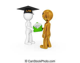Lawyer, client and money pack. - 3d small people. Lawyer,...
