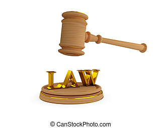 Lawyers hammer and word LAW 3d rendered Isolated on white...