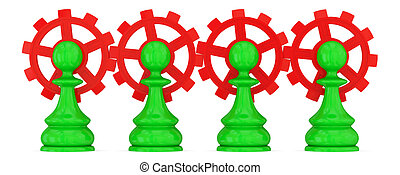 Four green pawns merged with red gears Teamwork concept...