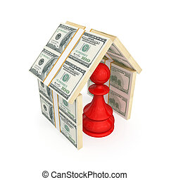 Red pawn under the roof made of money. 3d rendered. Isolated...