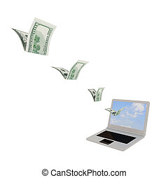 Dollars flying through laptop screen 3d rendered Isolated on...