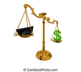Golden vintage scales. - Golden vintage scales with lawyer's...