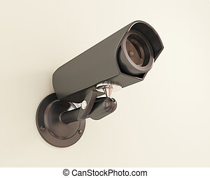 Observation camera on a wall 3d rendered