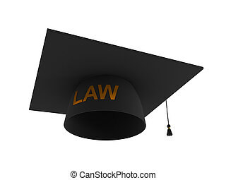 Balck lawyer's hat with golden word LAW. 3d rendered....