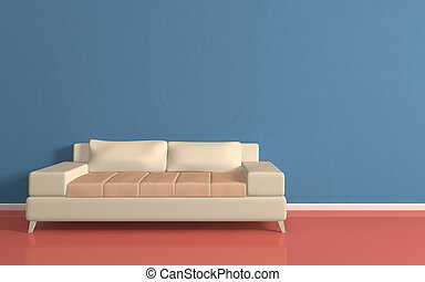 Modern sofa - Interiour composition with a beige sofa3d...