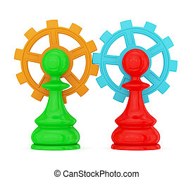 pawns merged with gears - Two pawns merged with gears...