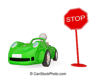 Green car with STOP sign