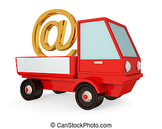 Red truck with golden e-mail sign. 3d rendered. Isolated on...
