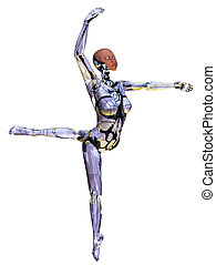 Android Dancer - 3D Render of an android ballet dancer