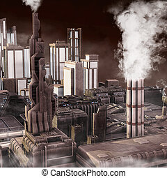 Future Industrial City - 3D render illustration of a smokey...