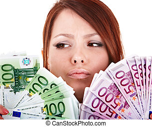 Young women with group of money euro. Isolated.