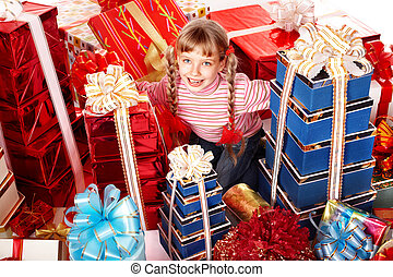 Child girl with group gift.