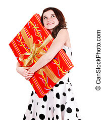 Girl with big red gift box Isolated