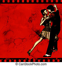 Tango Film - Ballroom dance background on a red film