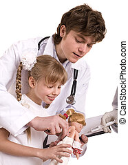 Doctor learn child to do  inoculation.