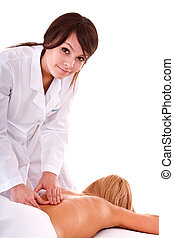 Professional masseur does massage in spa salon. Isolated.