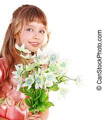 春, 女の子, 花