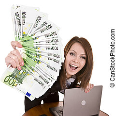 Businesswomen with group of money and laptop Isolated