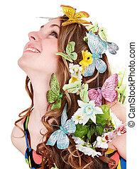 蝶, 女の子, 花