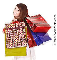 Girl holding group shopping bag Isolated