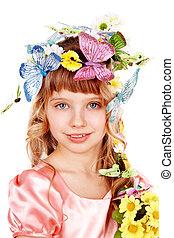 美しい, 蝶, 女の子, 花