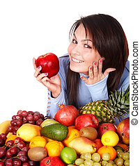 Girl with group of fruit and vegetables Isolated