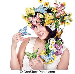 蝶, 頭, 女の子, 花