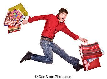 alegre, ENGRAÇADO,  shopping, homem, Feliz